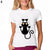 Funny Black Cat Women Short Sleeve Crew Neck Casual Summer T-shirt Top Tees