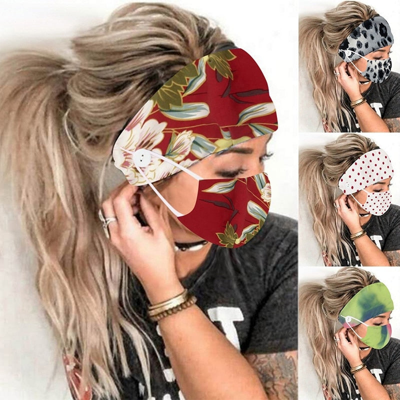 2 PCs Christmas Yoga Earmuff Headbands With Button Women Outdoor Casual Floral Headwear 2020 New Fashion Scarf Hair Accessories