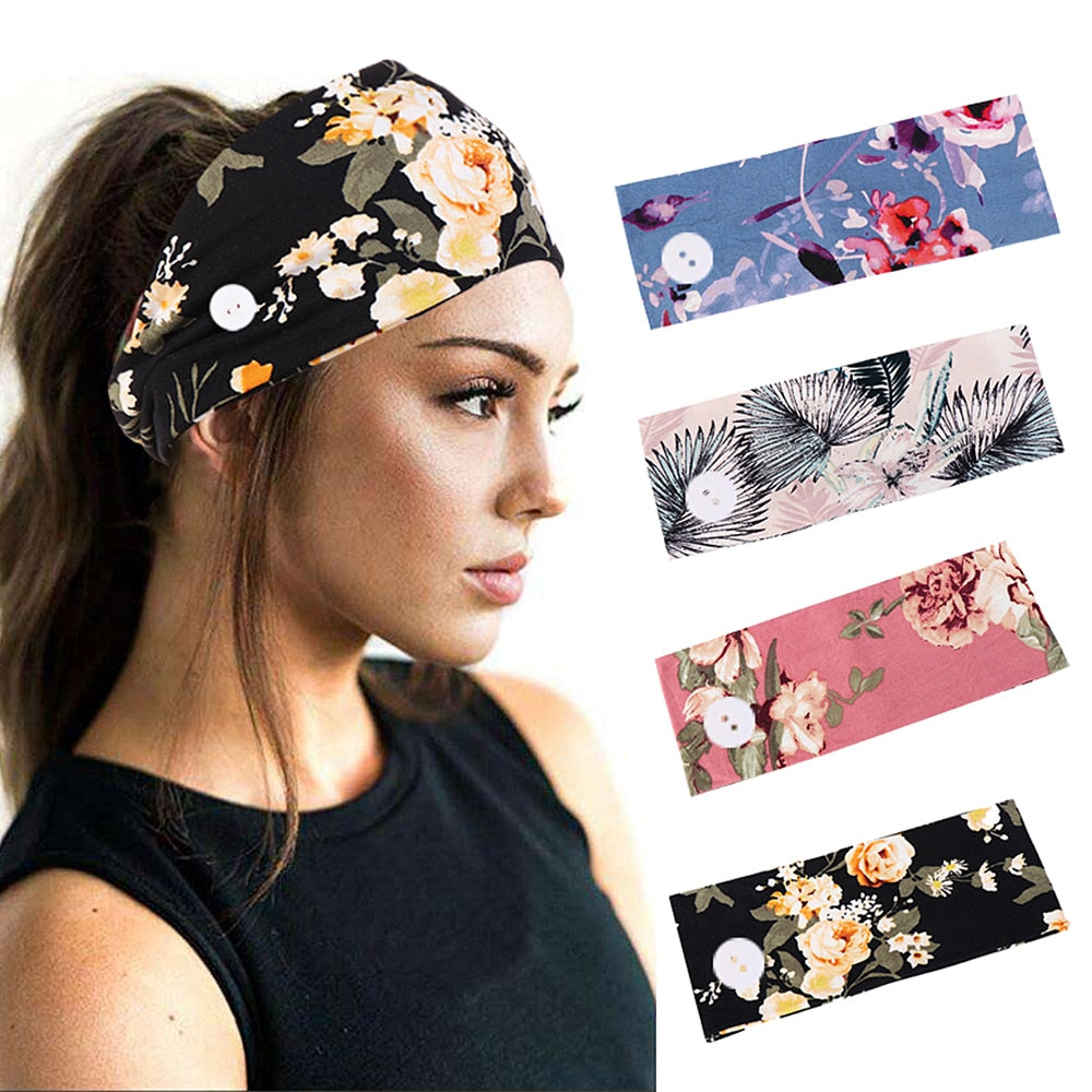2 PCs Soft Flower Print Headwear Earmuff Headband With Button For Women Outdoor Fashion Casual 2020 Hairbands Hair Accessories