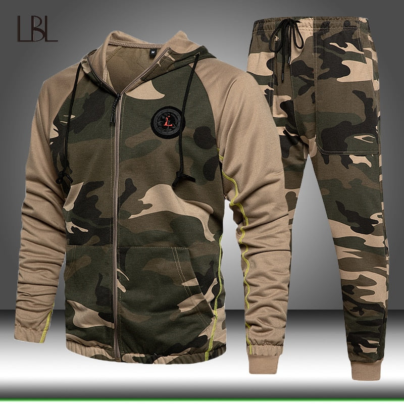 2 Pieces Sets Tracksuit Men Hooded Sweatshirt+pants Pullover Hoodie Sportwear Suit Male Camouflage Joggers Winter Sets Clothes