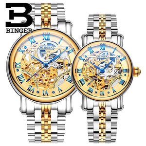 2016 New Watches BINGER Couple Automatic Watch Men Top Quality Skeleton Mechanical Watch For Women Wristwatch B-5066M