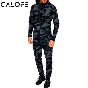 2018 Autumn Men Fitness Tracksuit Sport Set Camo Printed Hoodies Coat + Pants Sportwear Suit Male Outdoor Running Jogging Sets