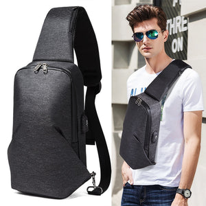 2018 New Style Men Fashion Cool Wind Chest Bag Crossbody Bag USB Charging Men's Bag Youth Sports Backpack