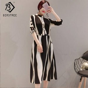 2018 Summer Korean Style Women Stand Collar Striped Fashion Casual Elegance Sweet Slim Button Mid-Calf Dresses Hots D89316Q