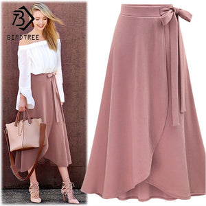2018 Women Skirts Summer New Arrival Asymmetrical Slim High Waist Solid Lace Up Casual Style Fashion Mid Skirts  Sale B88301L