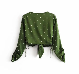 2019 Autumn Green Lacing up Polka Dot Print Bow Tie Shirt Holiday Woman Long Sleeve Ruched Cuff Deep V-Neck Cardigan Sexy Blouse