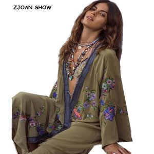 2019 New Bohemian V neck Flower Embroidery Long Kimono Shirt Ethnic Women Holiday Long Cardigan Loose Blouse Beach Tops