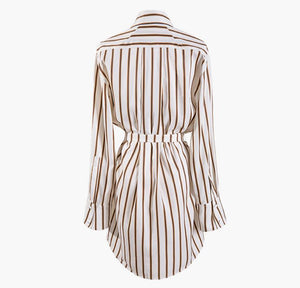 2019 New Spring Summer Lapel Long Sleeve Striped Pattern Split Joint Irregular Big Size Shirt Women Tide Bow Sashes Blouse