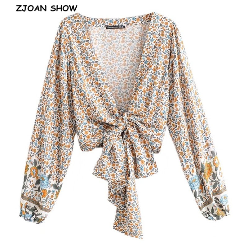 2019 New Women Bohemian  Sun Flower Print Kimono Shirt Batwing Sleeve V-Neck Lacing Up Tie Bow Cardigan Blouse Femme Blusas