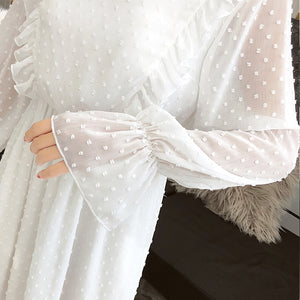 2019 Spring and Autumn Women Chiffon White Lace Dress Bohemian Flare Sleeve O-Neck Beach Casual Midi Dresses D9N103Q