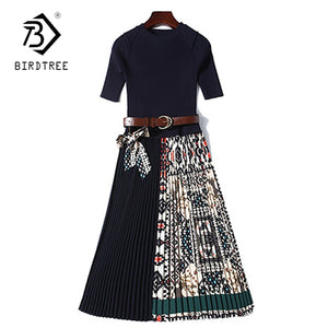 2019 Summer Women Casual Pleated Dress with Slim Office Short Sleeve O-Neck Midi Dresses  D9N303Q