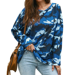 2019 Women Camouflage Printted T-Shirt Autumn Sexy Cold Shoulder Long Sleeve T-Shirts Tops Harajuku Clothing Camiseta Mujer D30