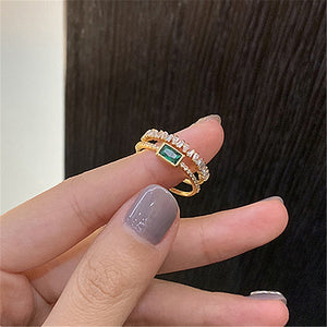 2020 New Arrival Trendy Crystal Geometric Retro Green Zircon Double Open Ring For Women Elegant Fashion Luxury Jewelry