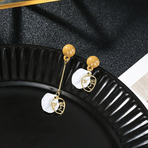 2020 New Arrival Vintage Geometric Asymmetric Face Shell Long Dangle Earrings For Women Metal Jewelry Gift