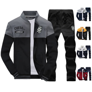 2020 New Casual Brand Men Sportswear Sets Running Sports Fitness Tracksuit Male Two Pieces Sweatshirt+Sweatpant Gym Clothing