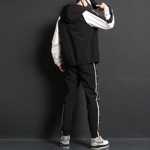 2020 New Men Casual Sets Zipper Patchwork Tracksuits Mens Hip Hop Streetwear Suit Male Jacket And Pants Clothing Sets