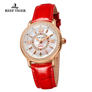 2020 Reef Tiger/RT Luxury Brand Casual Women Watches Red Leather Strap Waterproof Quartz Watch Clock Gift for Wife RGA1563