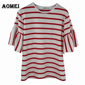 2020 Women Ruffles Sleeve Casual T Shirt Striped Black and White O Neck Summer Spring T-shirt Woman Clothes Tee Shirts Tops