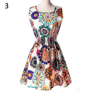 Women Summer Bohemian Floral Sleeveless Vest Printed Beach Chiffon Party Dress