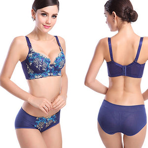 Women Sexy Floral Embroidery Lace Bra + Low Rise Briefs Underwear Intimate Set
