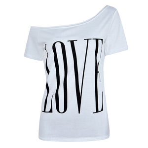 5XL Tees Plus Size Women T Shirt 2020 Off Shoulder Ladies Tops Casual Summer tshirt Short Sleeve Tee Shirt Letter Print Shirts