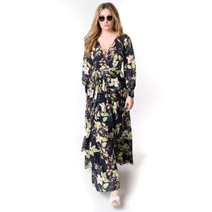 Women Summer V Neck Long Sleeve Floral Print Cocktail Evening Party Maxi Dress
