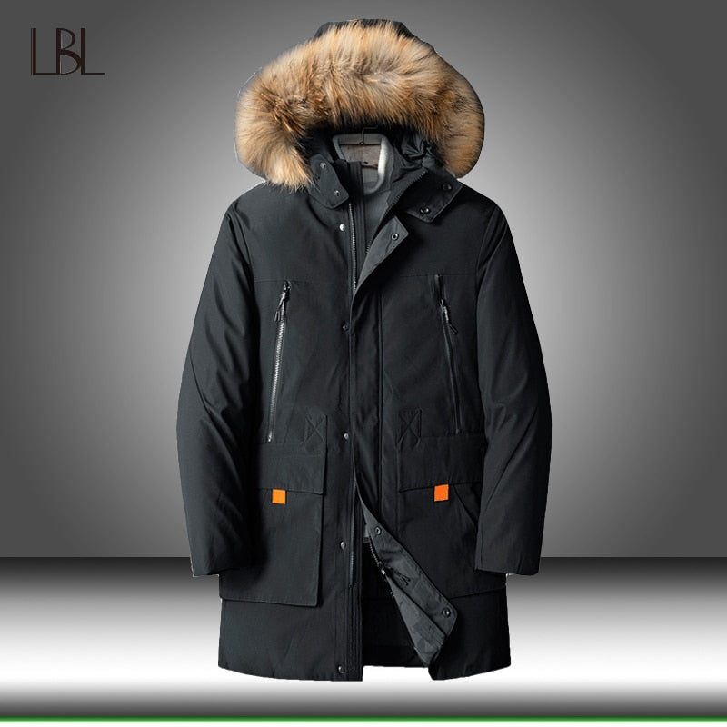 90% Down Jackets Men Winter Jacket Mens Fashion Thick Warm Parkas Fur White Duck Down Coats Casual Male Outdoor Windbreaker 8XL