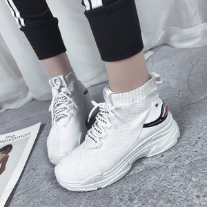 Autumn new socks shoes mesh breathable thick bottom high top casual sports shoes women Footwear running sneakers size 35-39