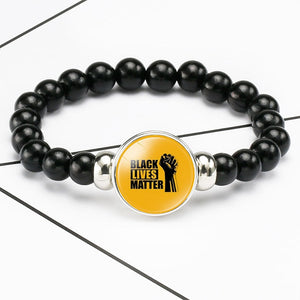 Black Lives Matter Beaded Bracelet George Floyd Protest Glass Dome Snap Buttons Charms Bracelets Jewelry