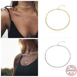CANNER 925 Sterling Silver Choker Necklace Female Clavicle Chain Flat Snake Necklace for Women Jewelry collares Free Shipping