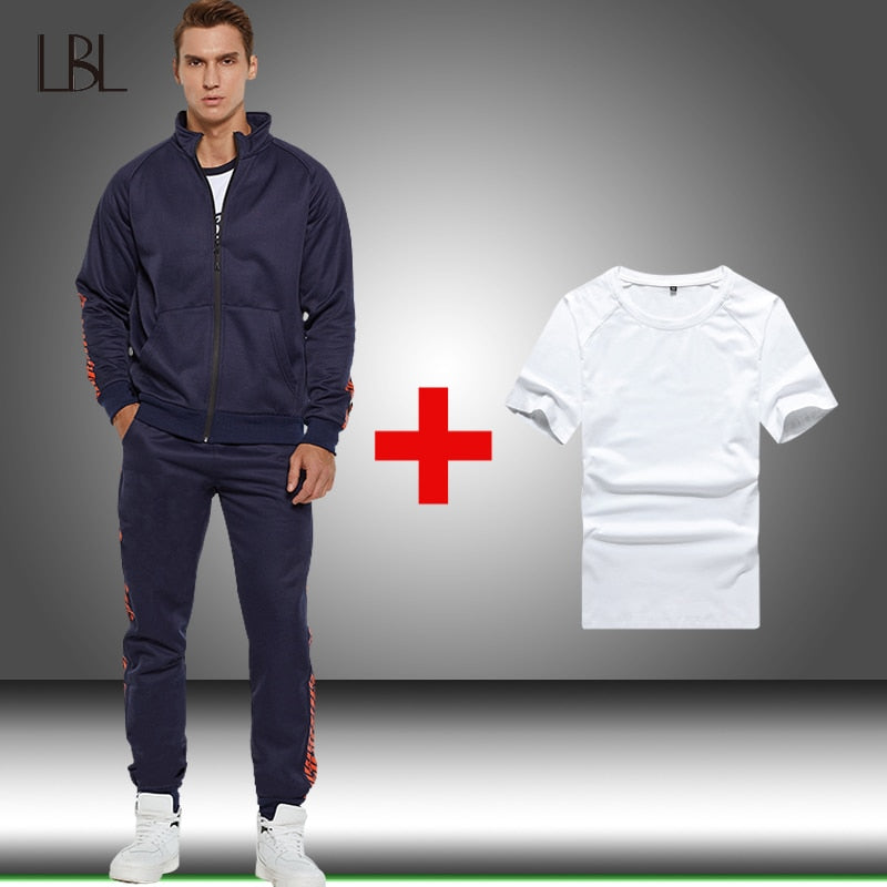 Casual Tracksuits Sweatshirt Men New Winter Tracksuit Sport Suit Mens Sweatshirts+Sweatpants+T shirts Sets Male Fleece Clothing