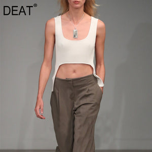 DEAT 2020 Square collar sleeveless knitting slim elastic short T-shirt female top WM29400L summer two pieces fashion