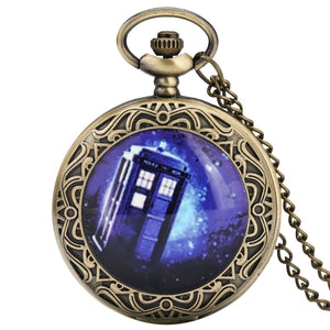 Doctor Who Theme Quartz Pocket Watch Bronze Sweater Chain Necklace Pendant Antique Clock Xmas Gifts