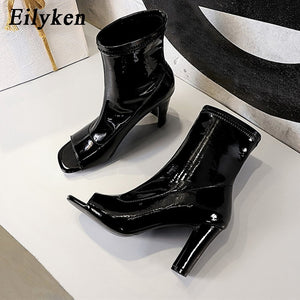 Eilyken 2021 New Casual Chelsea Women Ankle Boots Sandals Elegant Chunky Heels Fashion Patent Leather Square Toe Female Shoes