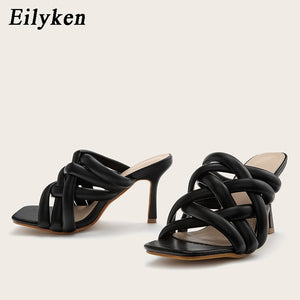 Eilyken 2021 New Sexy Mules shoes Women slippers Women Summer high heels Square toe Slides Ladies shoes White Black