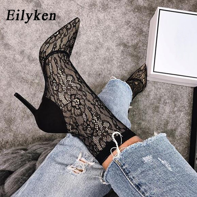 Eilyken 2021 New Spring New High Quality Women Boots Ankle Boots Lace Boots High Heel Pointed Toe Women Shoes  size 41 42 43