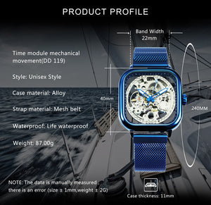 FORSINING Blue Automatic Watch Men Square Skeleton Mechanical Watches Magnet Strap Luxury Casual Wristwatch Relogio Masculino