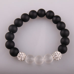 Fashion Black & White Stone Bracelets Pave Beads Bracelet