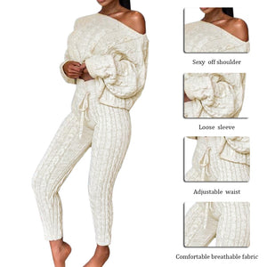 Fashion Yoga 2 Pieces Sets Knitted Sweaters Women Ladies Solid Outfits Autumn Winter Sets Fitness Streetwear Joggers Tracksuit