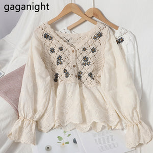 GAGANIGHT Casual Loose Women Shirt V-Neck Floral Embroidery Hollow Out Flared Sleeve Blouse Korean Sweet Fall Tops for Women