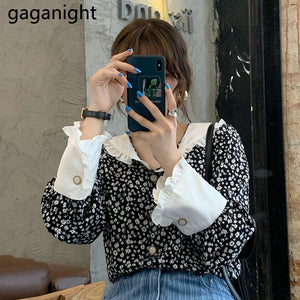 GAGANIGHT Vintage Women Blouses 2020 Fall New Floral French Elegant Shirt Office Lady Tops V-neck Blusas Flare Sleeve Ruffles