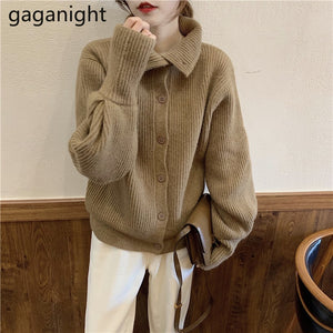 Gaganight Casual Women Sweater Autumn Winter Fashion Solid Cardigan Single Breasted Korean Sweaters Turtleneck Kardigan Loose