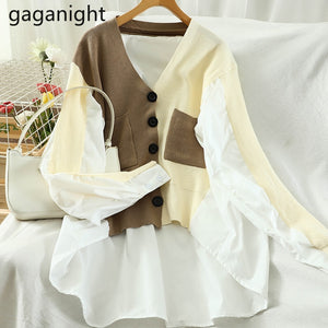 Gaganight Fashion Patchwork Color Blouse Long Sleeve Knitted Loose Lady Shirt Single Breasted Chic Korean Blusas Spring Autumn