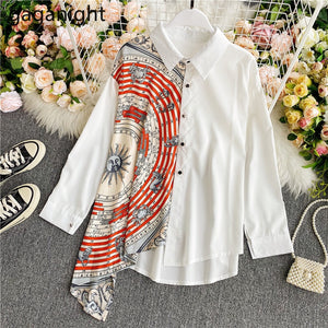 Gaganight Fashion Women Blouse Long Sleeve Irregular Elegant Office Lady Shirt Chic Casual Loose Blusas Spring Autumn New Shirts