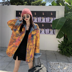 Gaganight Harajuku Cool Women Jeans Long Jacket Streetwear Fashion Graffiti Outwear Denim Coat Girls Chic Spring Autumn Jackets