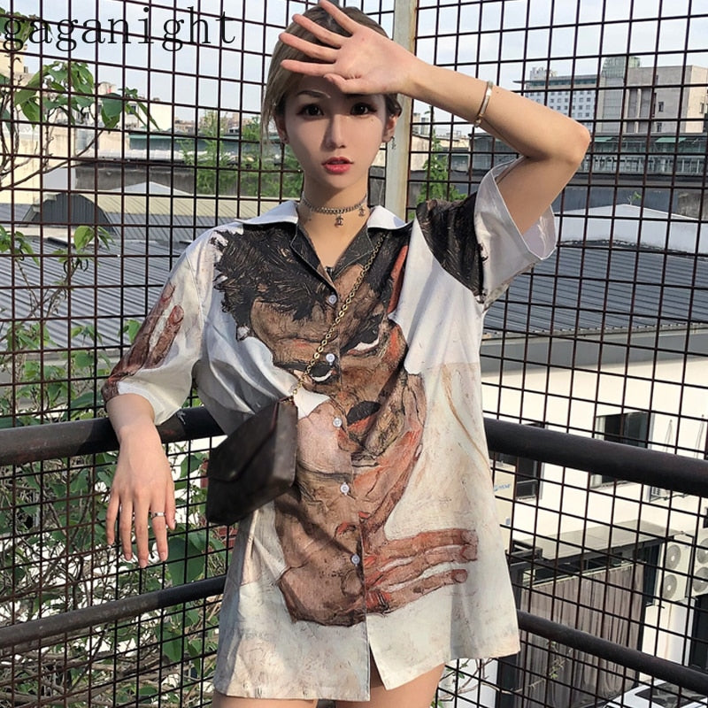 Gaganight Harajuku Streetwear Chic Women Blouse Summer Chiffon Cool Girls Shirt Short Sleeve Turn Down Casual Loose Blusas