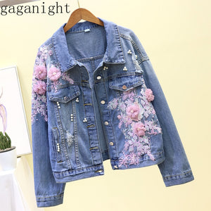 Gaganight Heavy Work Flower Patchwork Denim Jacket Women Turn Down Collar Long Sleeve Single Breast Casaco Feminino Slim X2913