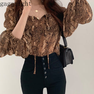 Gaganight Korean Ins Snake Print Blouse Women Retro Square Collar Puff Long Sleeve Blusas Loose Wild Shirt 2020 New Spring