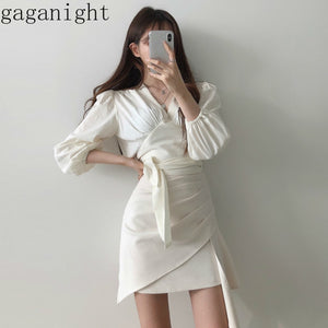 Gaganight Korean Temperament 2 Pcs Women Set V Neck Long Sleeve Pleat Shirt + High Waist Hip Irregular A Line Skirt Suit X2693