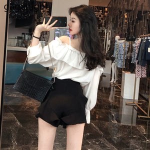 Gaganight Sexy Fashion Women Ruffles Blouse Long Sleeve Solid Lady Shirt Vintage Korean Blusas Spring Autumn Chic Shirts Loose